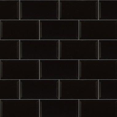 Metro wandtegel zwart glans 15x7,5 cm